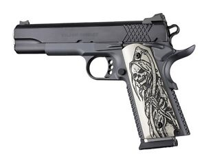 Details about Hogue 1911 Government Scrimshaw Ivory Polymer Grips, Grim  Reaper (45029)