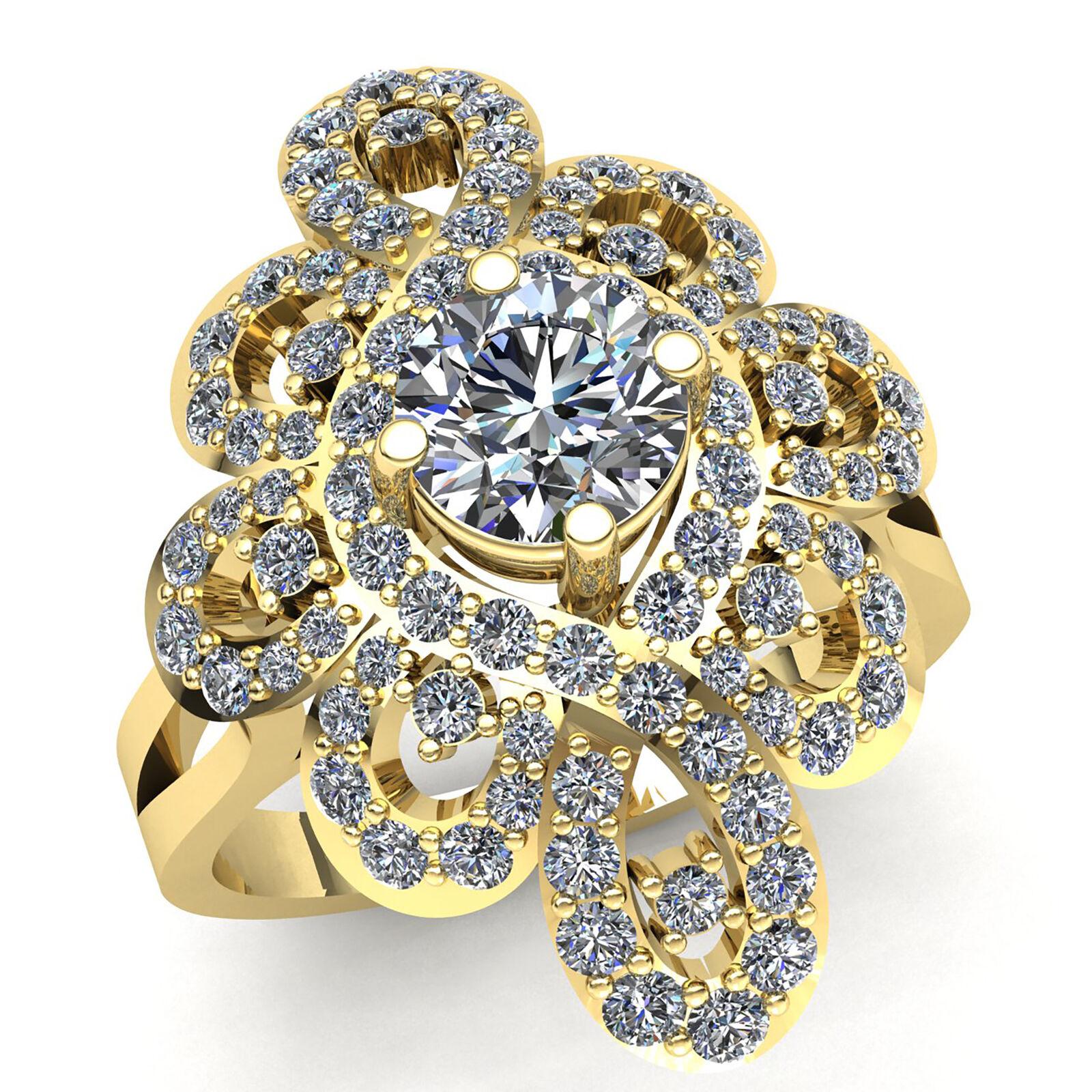 1.5ct Round Brilliant Cut Diamond Ladies Bridal Fancy Engagement Ring 10K gold