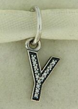 Authentic Pandora 791337CZ Initial Y Letter Sterling Silv Pendant Charm