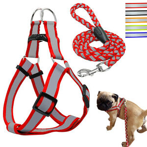 Step-in Reflective Pet Puppy Dog Vest Harness and Leash Set Durable for Dogs S-L