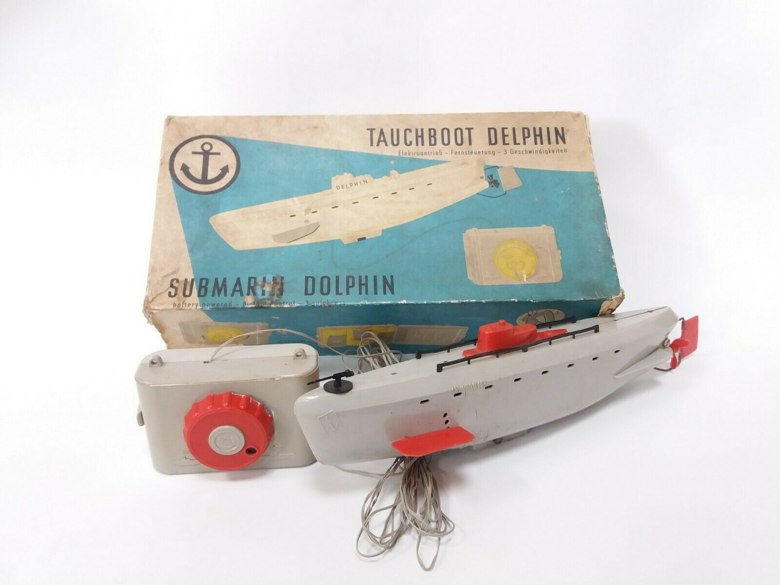 VINTAGE OLD RARE RARE RARE GERMANY PLASTIC TOY SUBMARINE DOLPHIN BATTERY OPER + BOX 7e9578