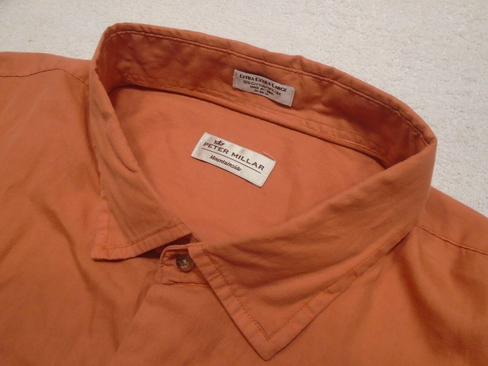 Peter Millar Cotton & Silk Blend Rust orange Sport Shirt NWT XXL