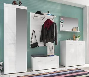 garderoben set wei hochglanz flur garderobe mit bank und schuhschrank amanda ebay. Black Bedroom Furniture Sets. Home Design Ideas