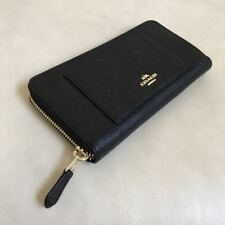 Coach F54007 Accordion Crossgrain Leather Zip Around Wallet Black