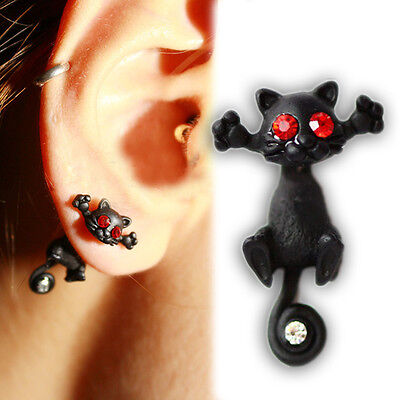 2015 New 1PCS Womens Black Cat Style Punk Rhinestone Long Tail Ear Studs Earring