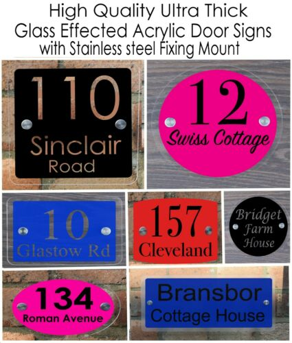 House Glass Effect Sign Plaques Door Number Sign Personalised Acrylic Plate