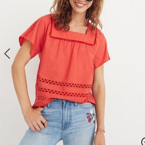 Madewell Orange Cotton Eyelet Angelica Top Size S… - image 1