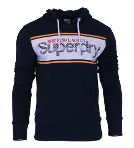 Superdry-Mens-New-Core-Logo-Stripe-Hoody-Overhead-Sweatshirt-Long-Sleeve-Navy
