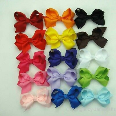 "15pc 3"" Boutique Hair Bows Girls Baby Alligator Clip Grosgrain Ribbon Headbands"