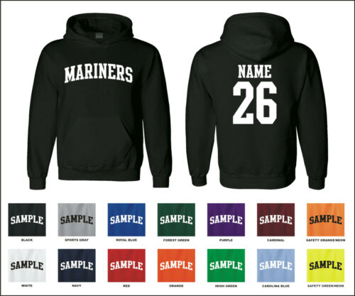 Mariners Custom Personalized Name /& Number Adult Jersey Hooded Sweatshirt