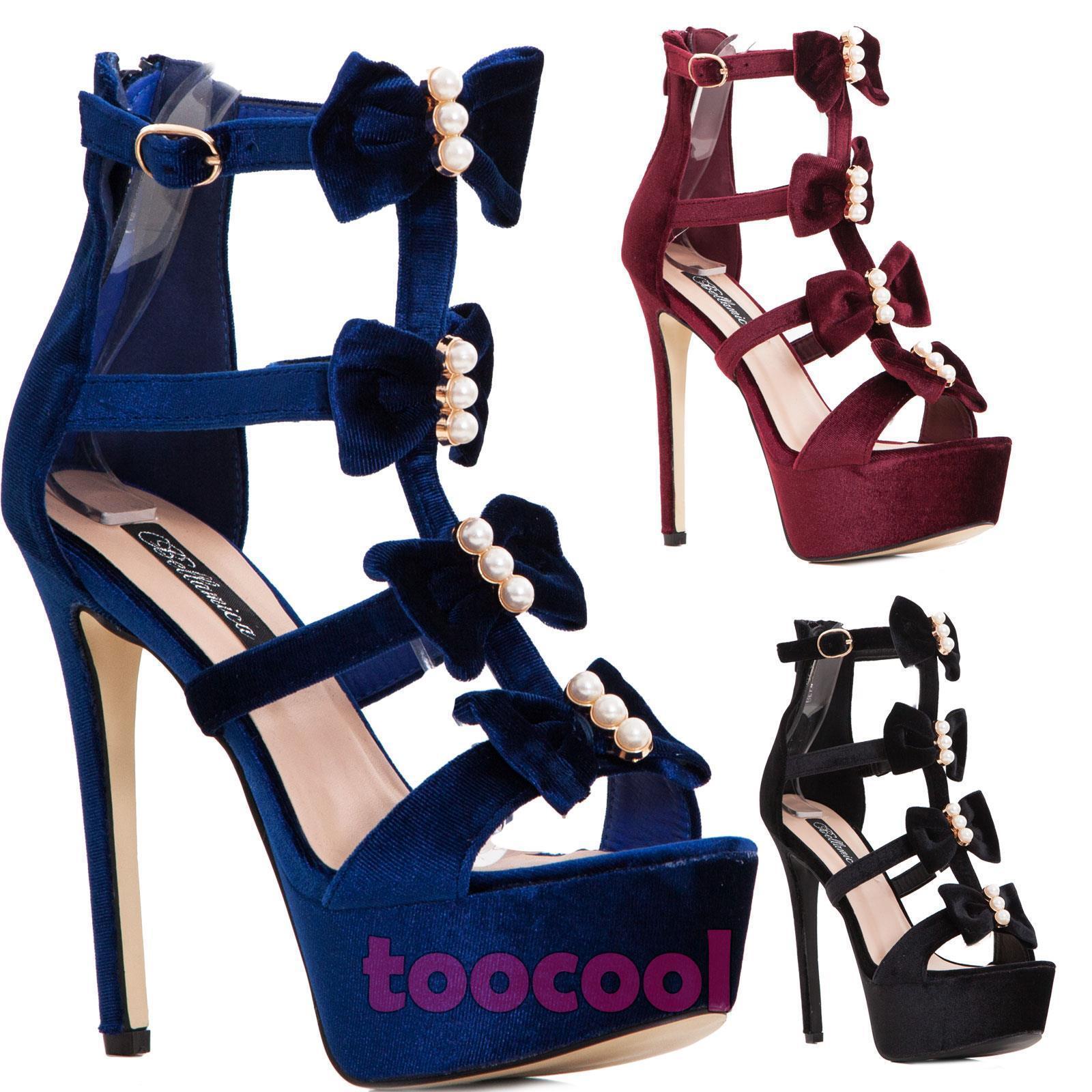 Zapatos sandalias de mujer tacón botines terciopelo terciopelo joya tacón mujer alto BL7202 c4caa6