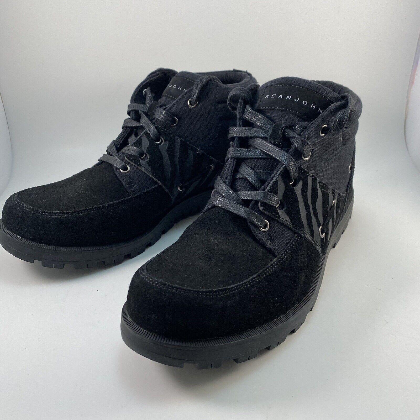 New Sean John Hardlined Size 10 Men's Boots Black With Zebra Details