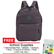 Everyday Deal 169 Lightweight Waterproof Backpack Purple Grey + School Supplies