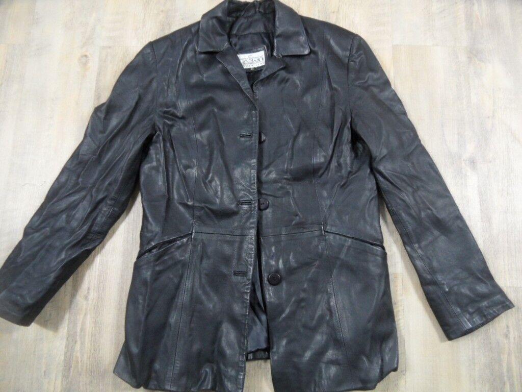 Cabrini argent Line Cuir Blazer Noir Taille 40 Top zc218
