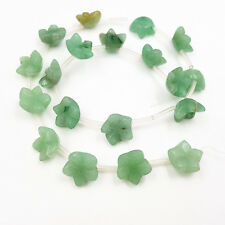 Natural Stone Green Aventurine Carve Flower 14mm Loose Beads For DIY Jewelry