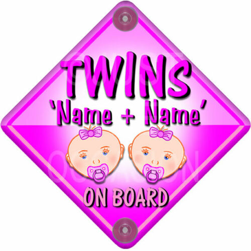 New   BABY FACE for GIRL TWINS   Pink Personalised Baby on Board Car Window Sign