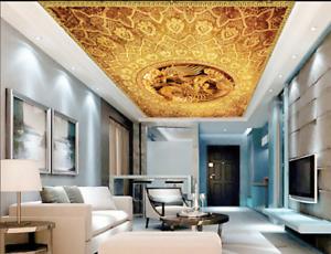 3D golden Dragon 888 Ceiling WallPaper Murals Wall Print Decal Deco AJ WALLPAPER