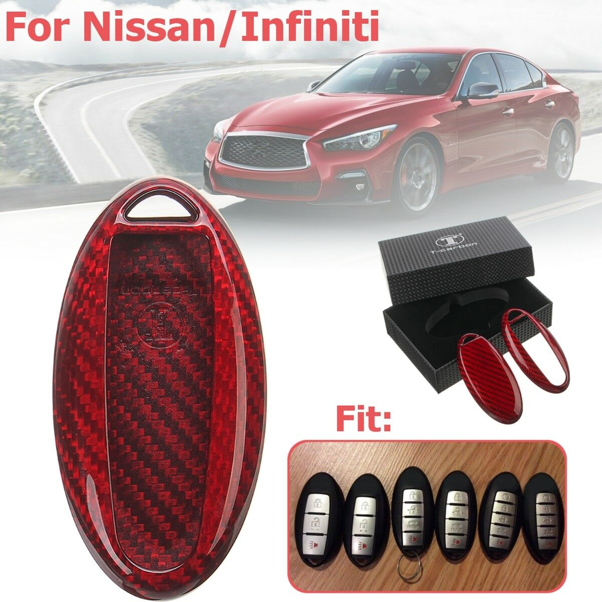 Red Carbon Fiber Remote Fob Smart Key Case Shell For Nissan Infiniti Clicker Alarm Kbrastu15 Fits Norton Secured Powered By Verisign