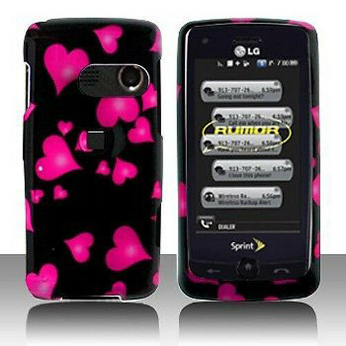 LG Rumor Touch LN510 Banter Touch UN150 Hard Case Phone Cover Raining Hearts