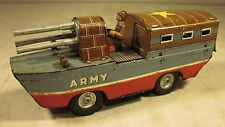 Vintage 1950's Tin Litho Sankei Kogyo Friction Army Amphibious Tank Toy Japan