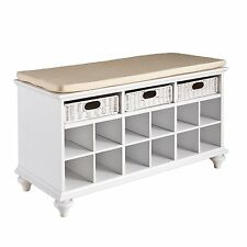 Southern Enterprise Chelmsford Entryway Shoe Bench In White Finish, BC4014 New