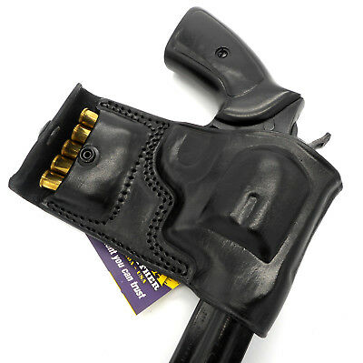 TAGUA Black Leather RH OWB Belt Holster with Ammo Pouch - RUGER GP100 REVOLVER