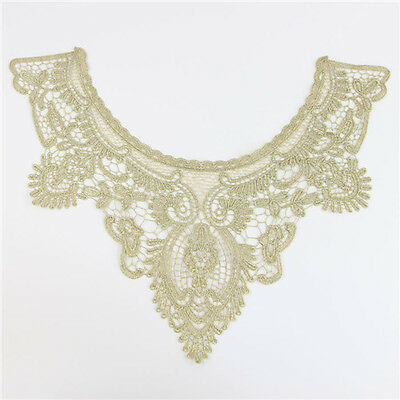 1x Fascinating Gold Neckline Collar Lace Trimming  Sewing Applique DIY Craft