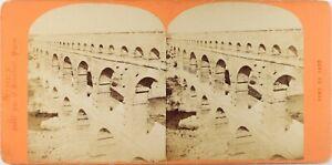 FRANCE-Nimes-Pont-Du-Gard-Photo-Neurdein-Stereo-Vintage-Albumine-ca-1870