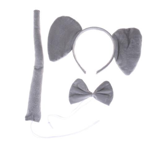 3Pce//set Elephant Animal Zoo Headband Ears Bow Tail Fancy Dress For Kids Gift JK