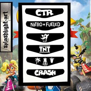 Inquiet Ctr Crash Team Racing Contrôleur Ps4 Lumière Bar 6x Autocollant Vinyle Playstation 4-afficher Le Titre D'origine