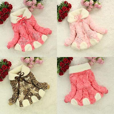 Baby Toddler Kids Faux Fur Lace Coat Girls Winter Warm Jacket Snowsuit Outwear