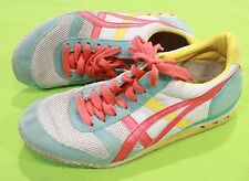 Onitsuka Tiger Shoes Sneakers Sz 5 Pink Yellow White Teal Asics Womens Casual