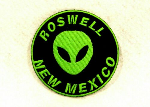 Roswell New Mexico Green on black Small Patch for Biker Vest