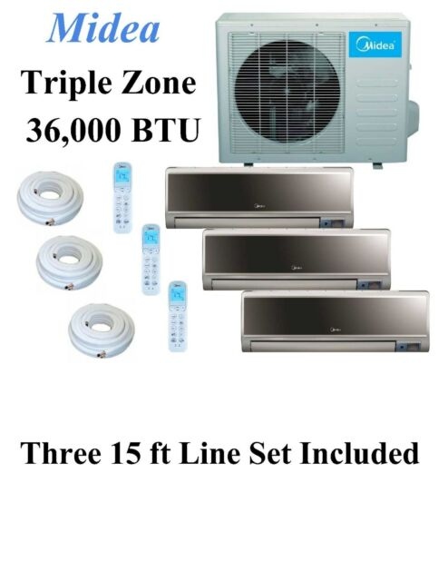 Midea Multi Tri-Zone Ductless Mini-Split Air Conditioner and  Heat Pump 36k Btu