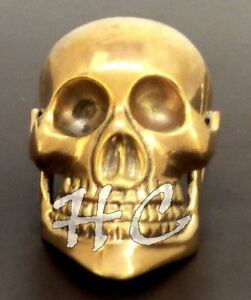 Details about  /Vintage Brass Heavy Skull head Handle Cane Designer For Walking Stick Style