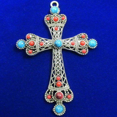 Carved Tibet Silver Inlay Blue Red Turquoise Cross Pendant Bead 83x70x4mm JC082