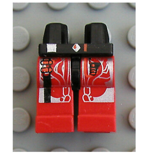 LEGO Black Hips and Red Legs with Space UFO Silver Circuitry Pattern UFO Alien