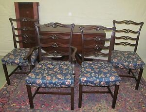 5 PIECE CHIPPENDALE STYLE MAHOGANY DINING ROOM SET BY CHARAK ...