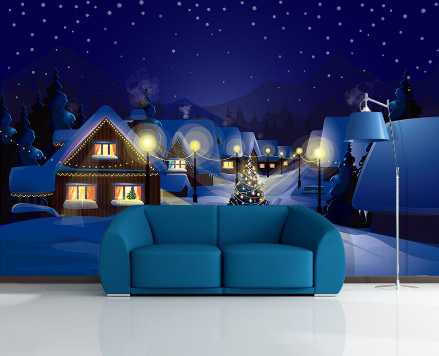 3D Christmas Day Dark Night Wall Paper Wall Print Decal Wall Deco Indoor Wall