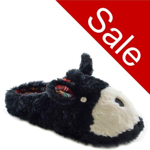 Ladies Black Bear Tartan Character Ballerina Mule Slippers Size 3 4 5 6 7 8