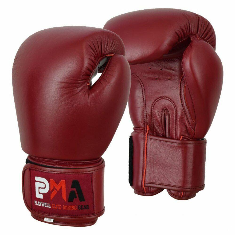 Playwell pelle pro Elite Classico Guantoni Box Sparring Calci Muay Thai UFC Mma