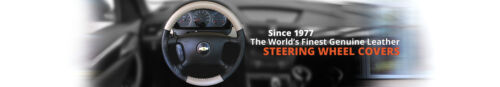 BLACK Genuine Leather Steering Wheel Cover for Ford Wheelskins Size AX