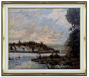 Framed-Claude-Monet-Seine-at-Bougival-Repro-Hand-Painted-Oil-Painting-20x24in