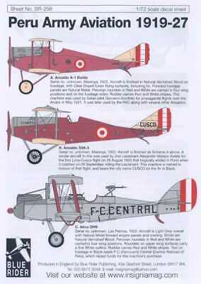 Blue Rider Decals 1//72 PERU ARMY AVIATION 1919-1927