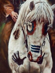 Framed-Print-Native-American-Indian-War-Horse-Animal-Picture-Stallion-Mount