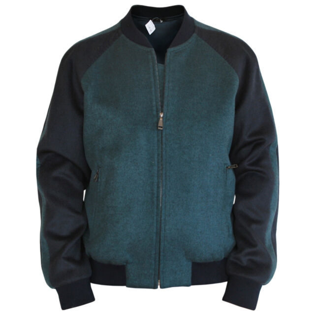 BRIONI $3,200 green cashmere wool silk varsity baseball coat bomber jacket L NEW