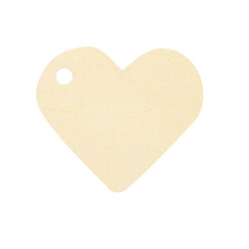 Namenskarten Herz 4x4 cm 10 Stk ivory Tischkarte Platzkarte Geschenkanhänger