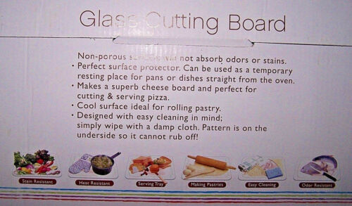 """Multiple Uses GLASS CUTTING BOARD 12/"""" x 8/"""" NEW! FLORAL DESIGN"""