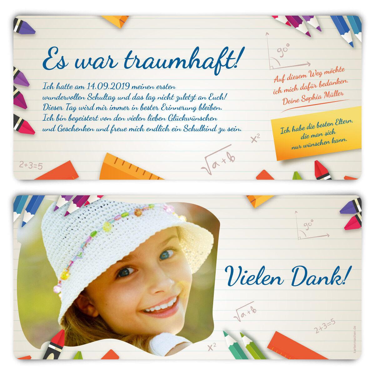 Dankeskarten Einschulung Danksagungskarten individuell Text Foto Heftnotiz
