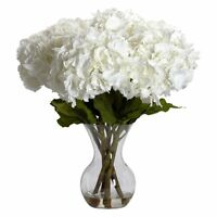 Large Hydrangea With Vase Silk Flower Arrangement, White on Sale